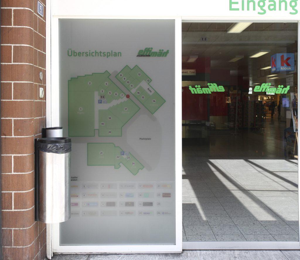 Milchglasfolie, Einkaufszentrum, Info- und Leitsysten, Effi Märt, Effretikon