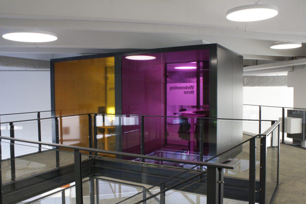 Glasdecor, transparente Farbfolie, B&R Automation, Sichtschutz, Farbe, Folienschnitt, Schrift